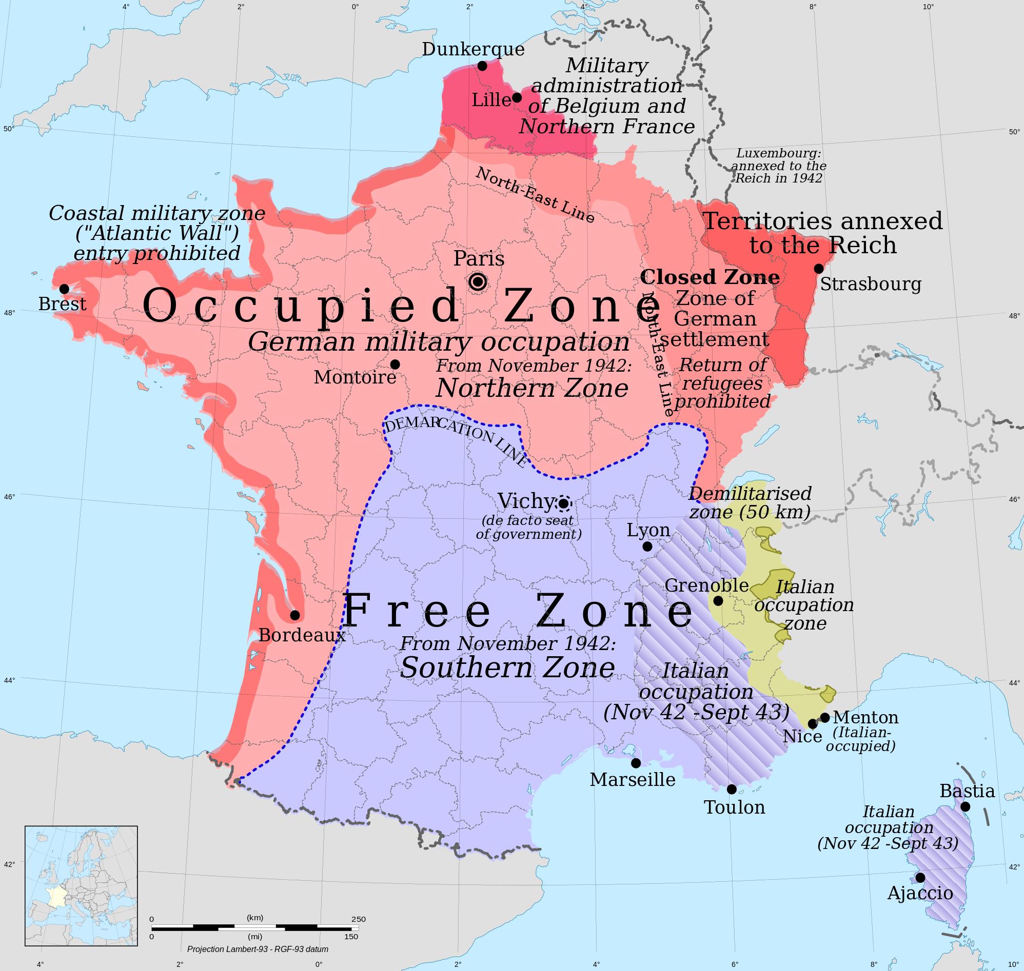 """fafdfb942659 Frankrikes delning i en av Tyskland ockuperad nordlig zon respektive en  """"fri"""" sydlig. Den tyska ockupationen pågick mellan 1940-1944. [Karta: Eric  Gaba ..."""